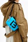 XS neon blue padded nylon flap bag